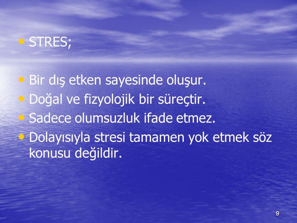 STRES; Bir dış etken sayesinde oluşur. Doğal ve fizyolojik bir süreçtir. Sadece olumsuzluk ifade etmez.