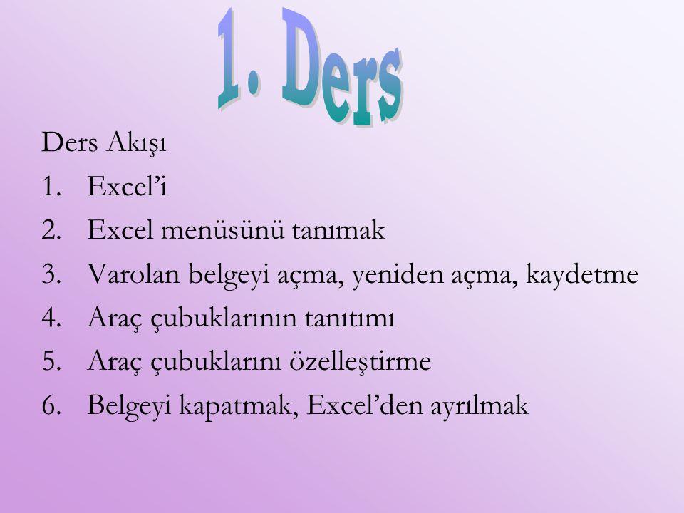 1. Ders Ders Akışı Excel'i Excel menüsünü tanımak