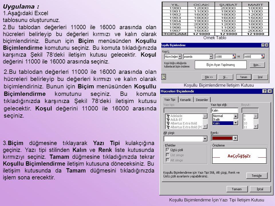 Uygulama : Aşağıdaki Excel tablosunu oluşturunuz.