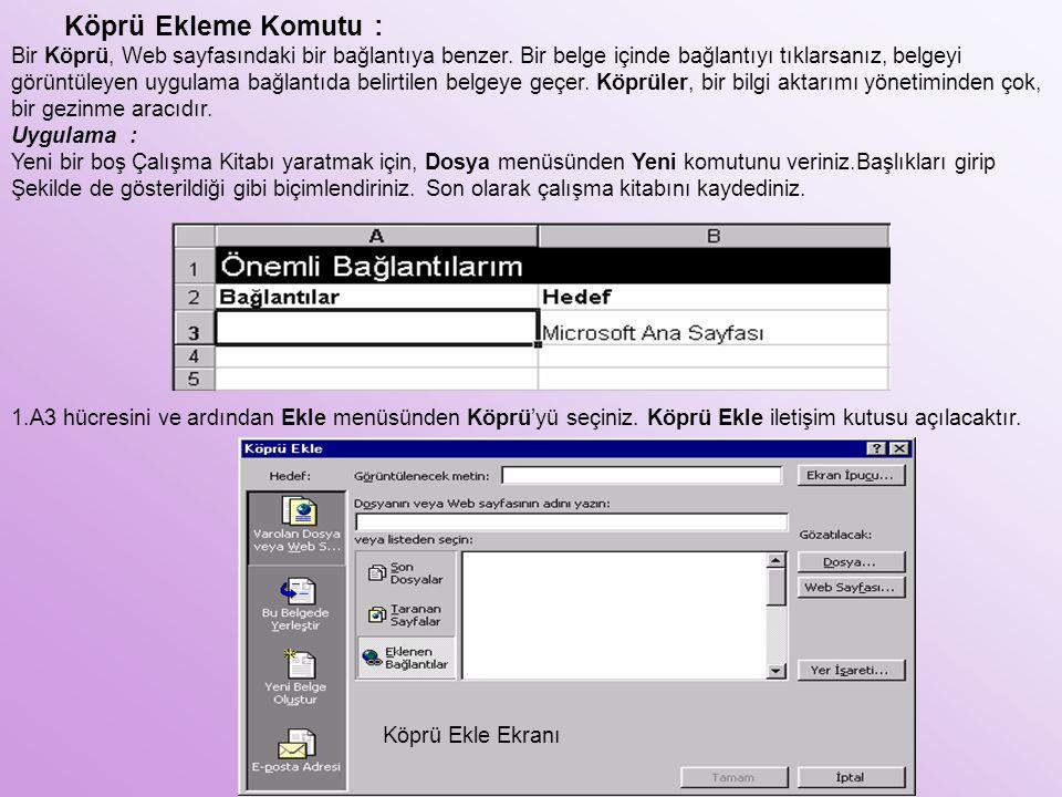 Köprü Ekleme Komutu :