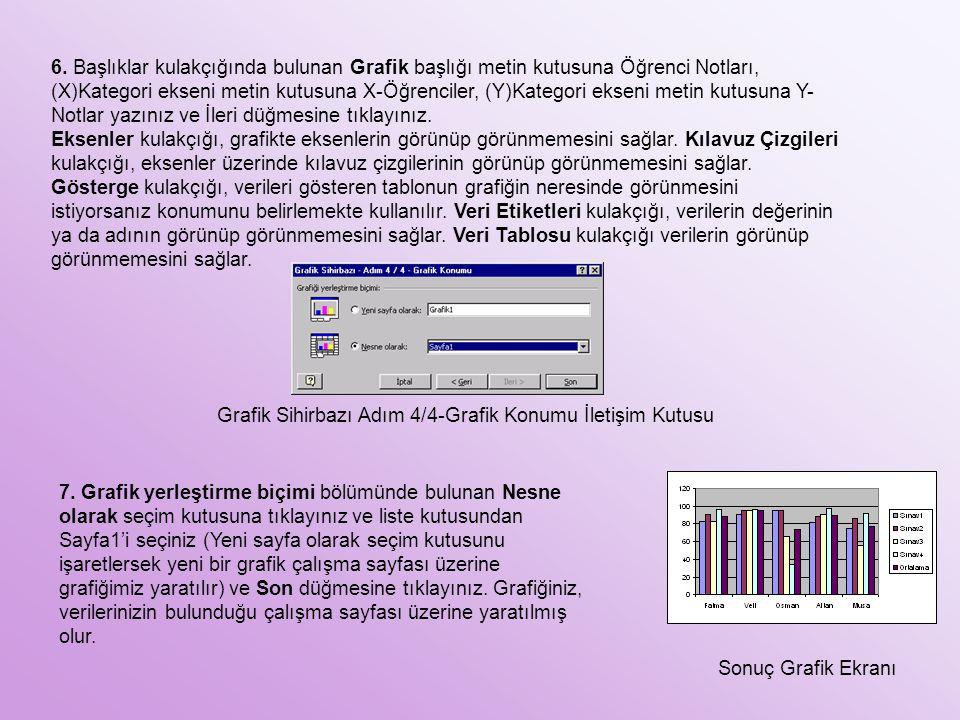 6. Başlıklar kulakçığında bulunan Grafik başlığı metin kutusuna Öğrenci Notları, (X)Kategori ekseni metin kutusuna X-Öğrenciler, (Y)Kategori ekseni metin kutusuna Y-Notlar yazınız ve İleri düğmesine tıklayınız.