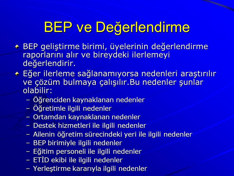 BEP ve Değerlendirme BEP geliştirme birimi, üyelerinin değerlendirme raporlarını alır ve bireydeki ilerlemeyi değerlendirir.