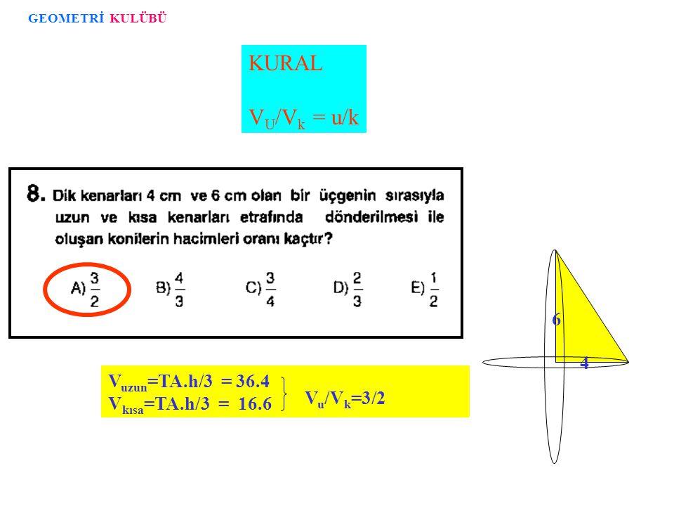 KURAL VU/Vk = u/k 6 4 Vuzun=TA.h/3 = 36.4 Vkısa=TA.h/3 = 16.6