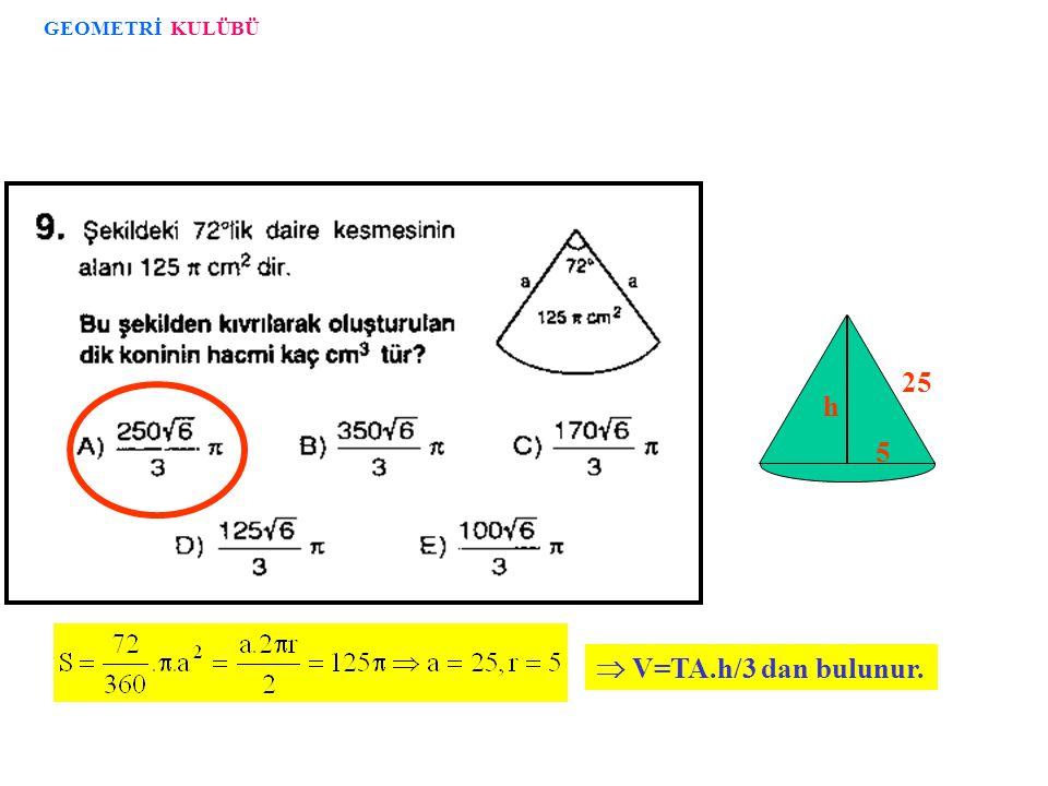 GEOMETRİ KULÜBÜ  V=TA.h/3 dan bulunur. h 25 5