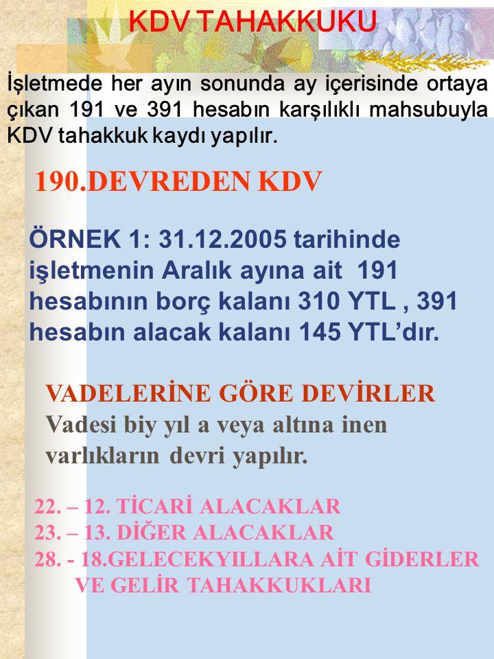 KDV TAHAKKUKU İşletmede her ayın sonunda ay içerisinde ortaya çıkan 191 ve 391 hesabın karşılıklı mahsubuyla KDV tahakkuk kaydı yapılır.