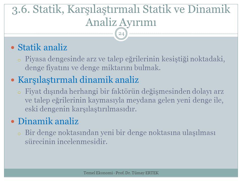 3.6. Statik, Karşılaştırmalı Statik ve Dinamik Analiz Ayırımı
