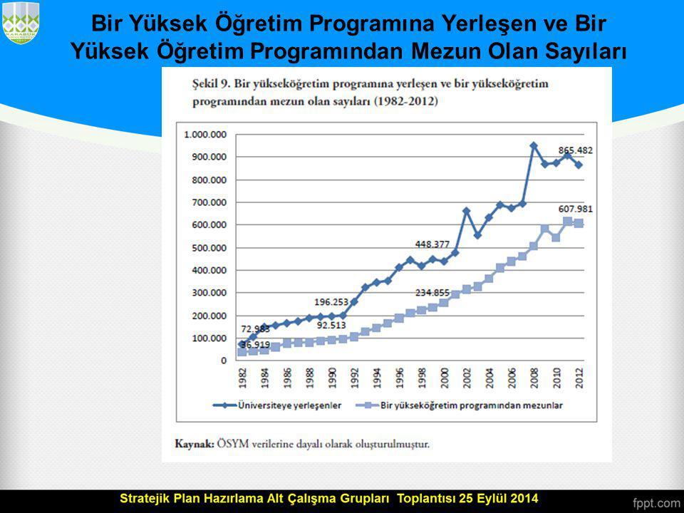 Bir Yüksek Öğretim Programına Yerleşen ve Bir Yüksek Öğretim Programından Mezun Olan Sayıları