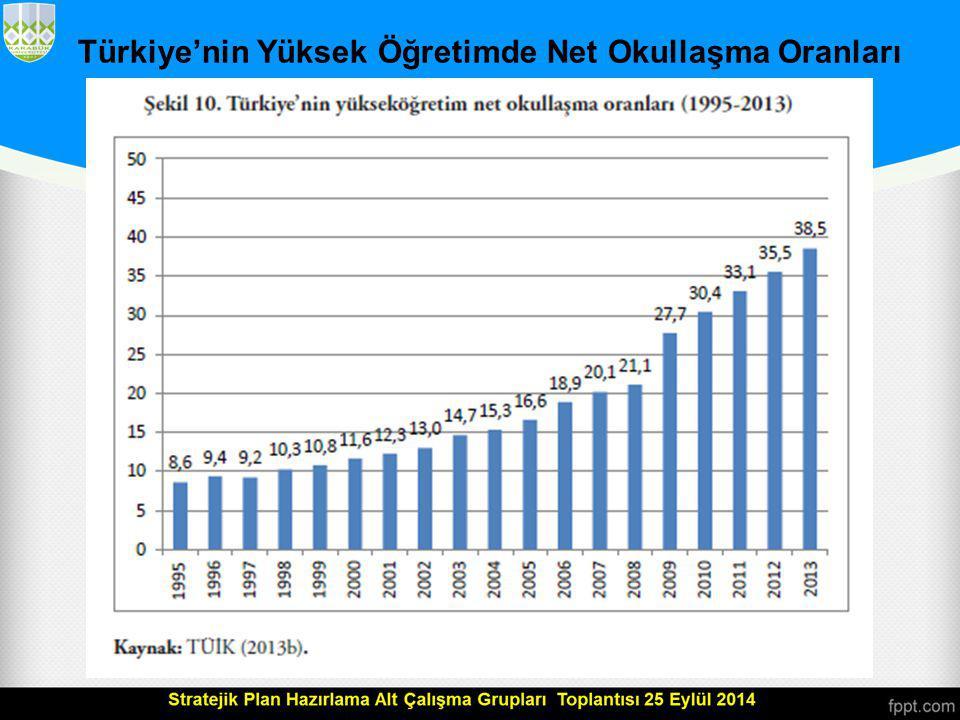 Türkiye'nin Yüksek Öğretimde Net Okullaşma Oranları