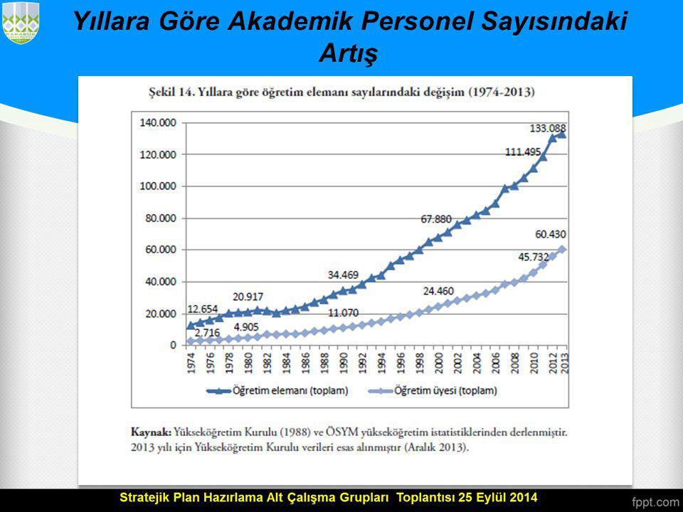 Yıllara Göre Akademik Personel Sayısındaki Artış