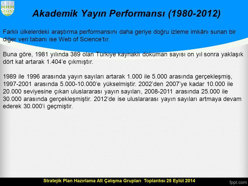 Akademik Yayın Performansı (1980-2012)