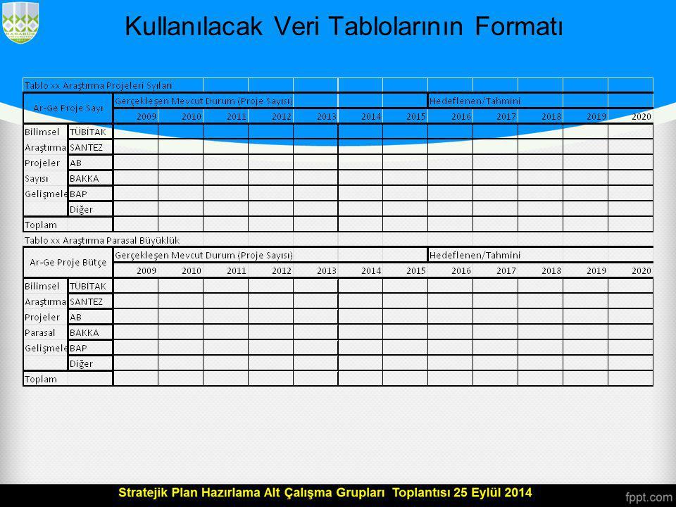 Kullanılacak Veri Tablolarının Formatı