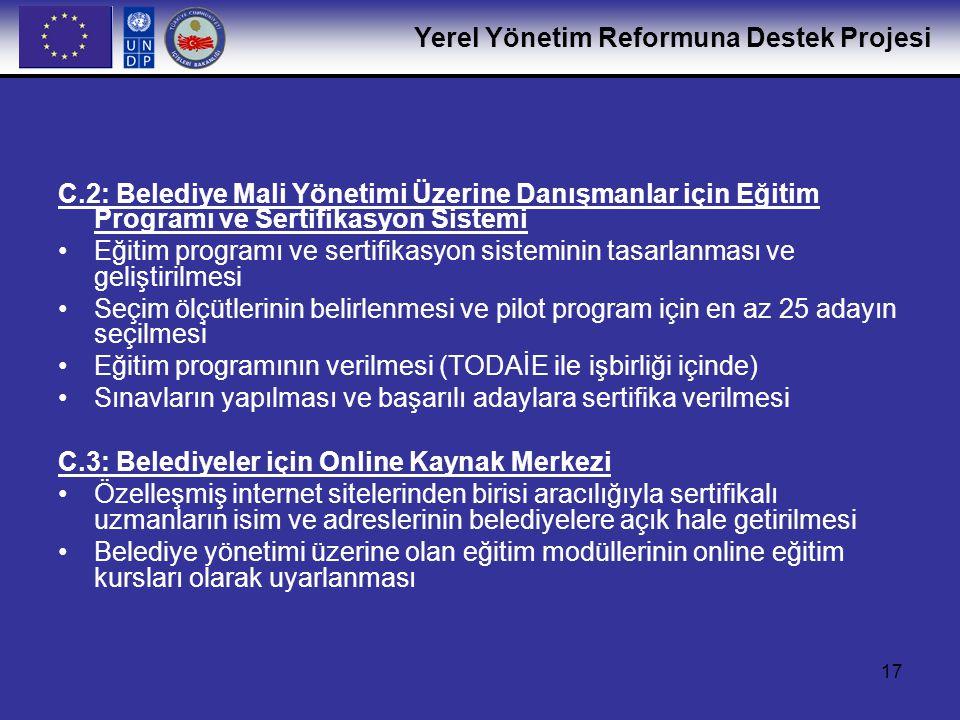 C.2: Belediye Mali Yönetimi Üzerine Danışmanlar için Eğitim Programı ve Sertifikasyon Sistemi
