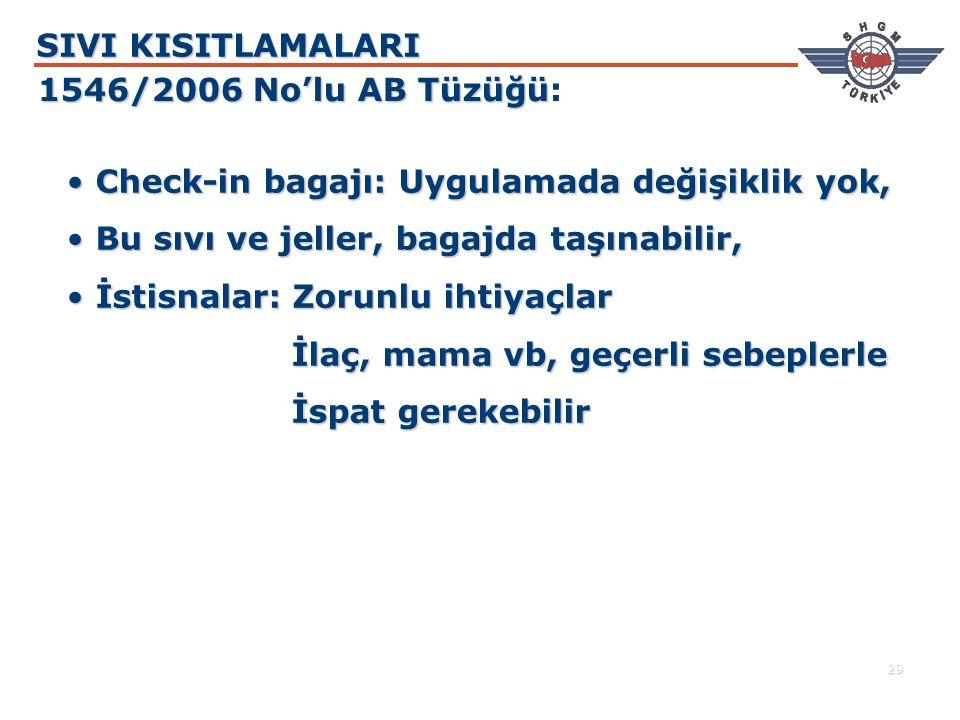 SIVI KISITLAMALARI 1546/2006 No'lu AB Tüzüğü: Check-in bagajı: Uygulamada değişiklik yok, Bu sıvı ve jeller, bagajda taşınabilir,
