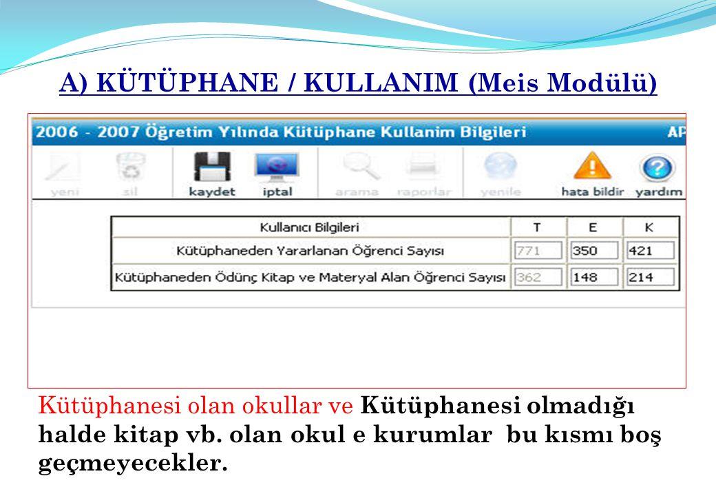 A) KÜTÜPHANE / KULLANIM (Meis Modülü)