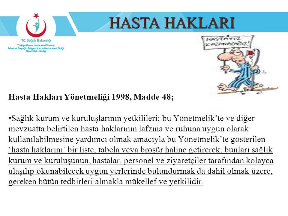 HASTA HAKLARI Hasta Hakları Yönetmeliği 1998, Madde 48;