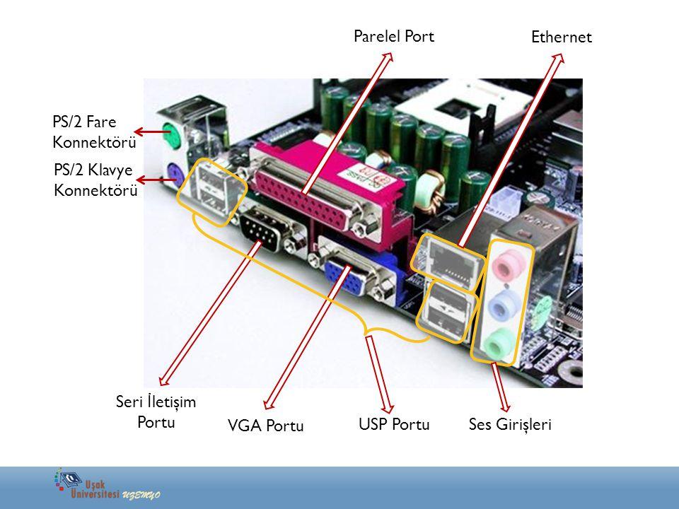 Parelel Port Ethernet. PS/2 Fare. Konnektörü. PS/2 Klavye. Konnektörü. Seri İletişim. Portu. VGA Portu.
