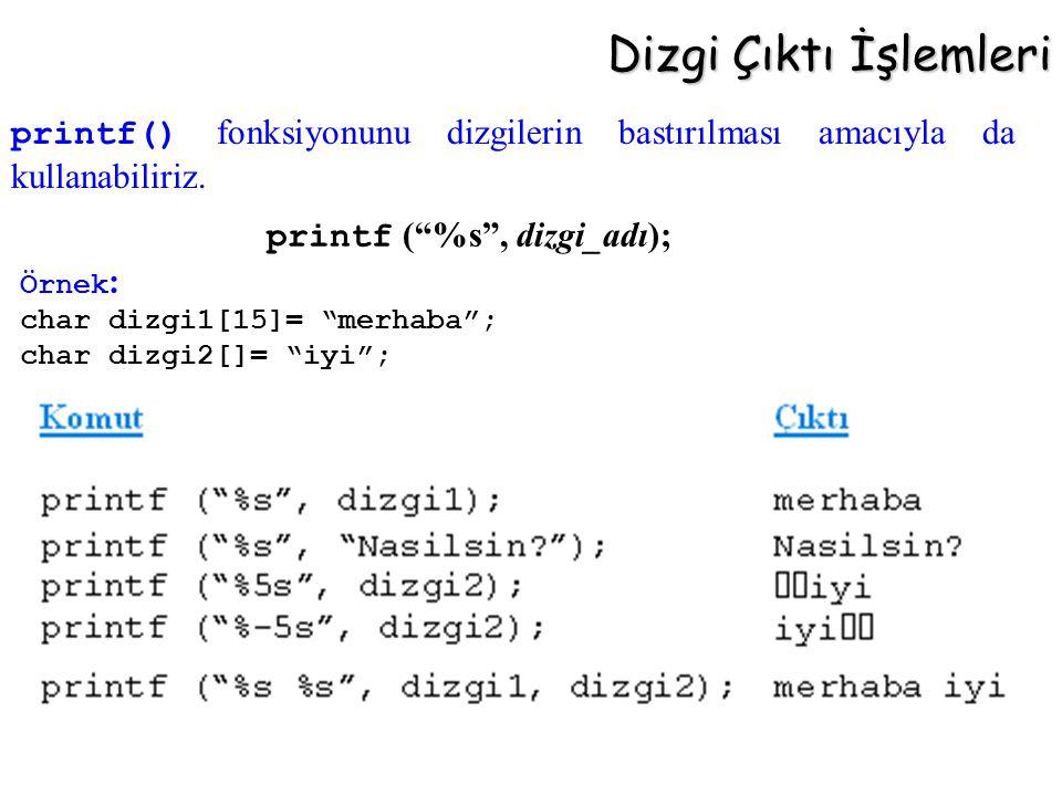Dizgi Çıktı İşlemleri printf ( %s , dizgi_adı);
