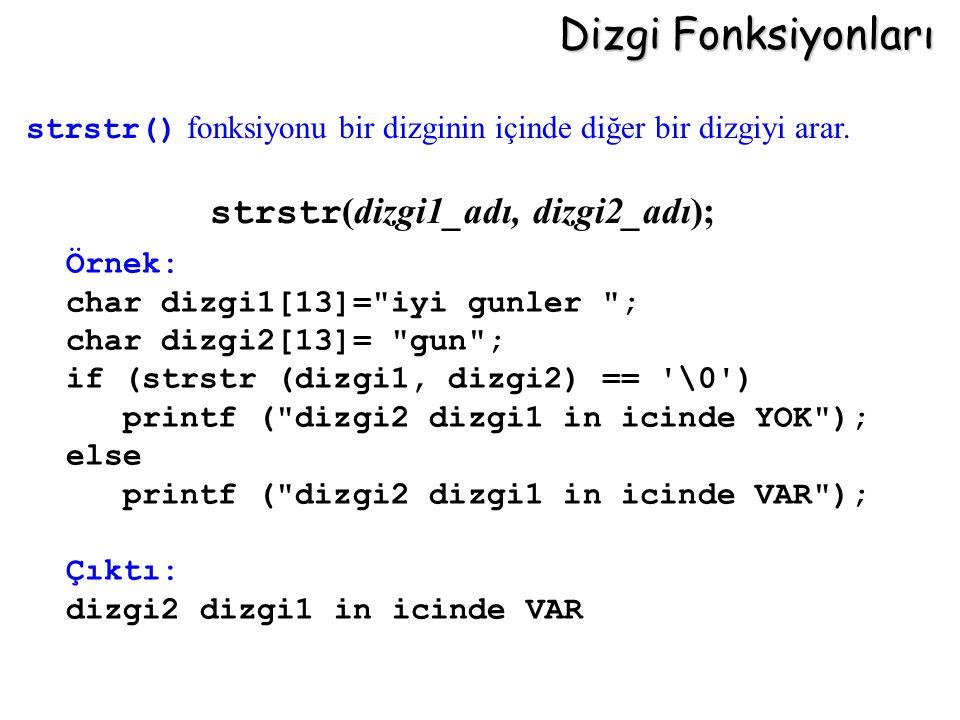 Dizgi Fonksiyonları strstr(dizgi1_adı, dizgi2_adı);