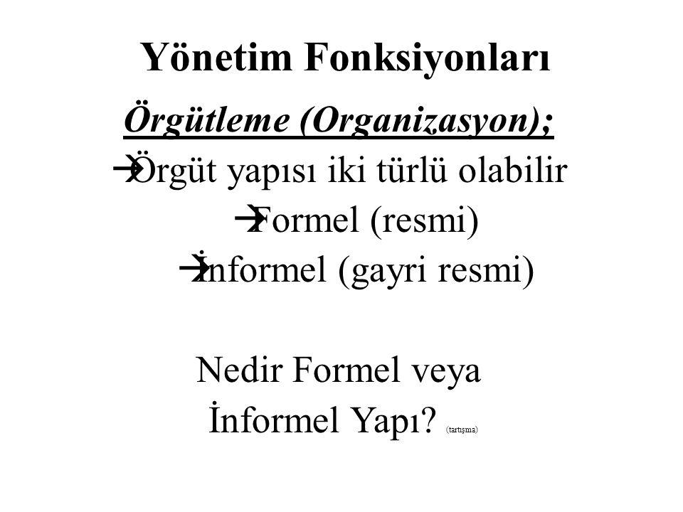 Yönetim Fonksiyonları