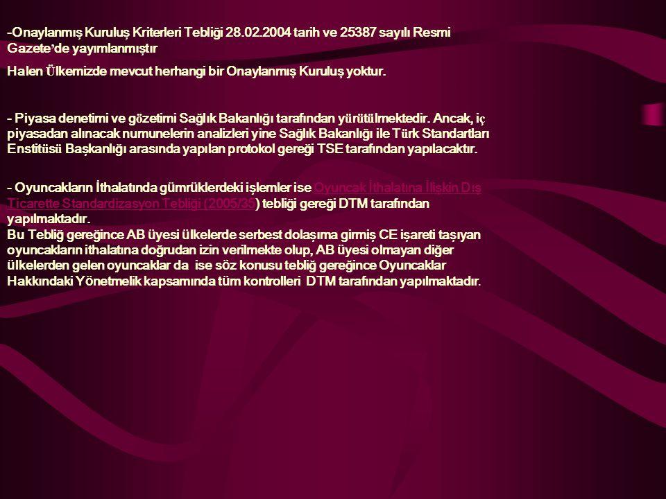 -Onaylanmış Kuruluş Kriterleri Tebliği 28. 02