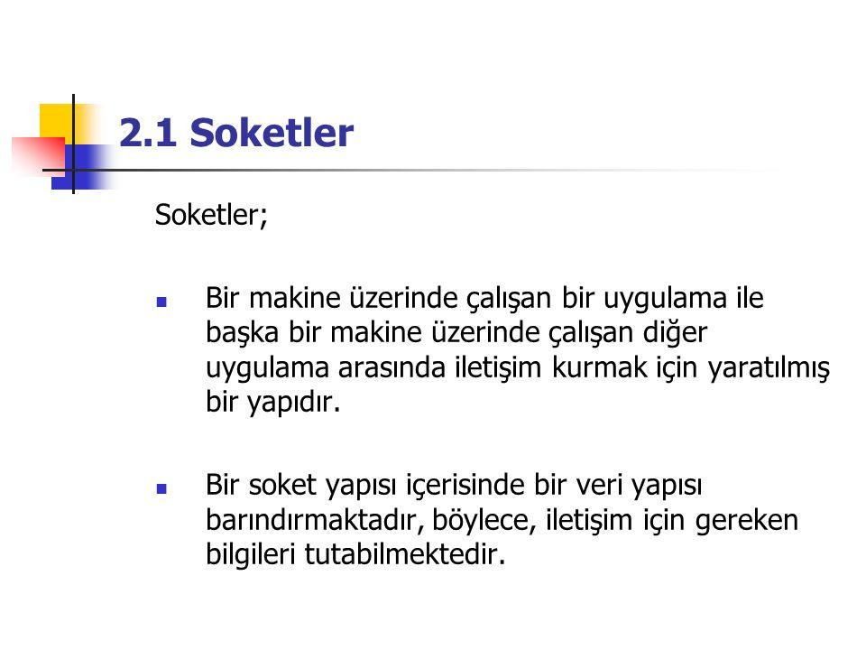 2.1 Soketler Soketler;