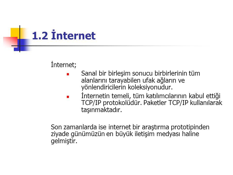 1.2 İnternet İnternet; Sanal bir birleşim sonucu birbirlerinin tüm alanlarını tarayabilen ufak ağların ve yönlendiricilerin koleksiyonudur.