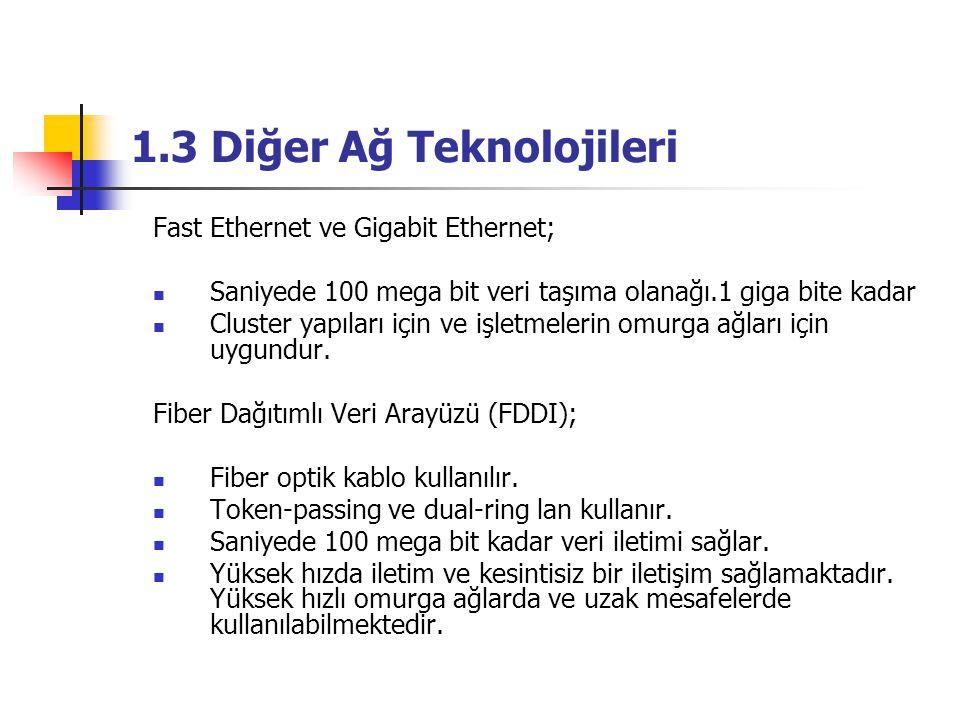 1.3 Diğer Ağ Teknolojileri