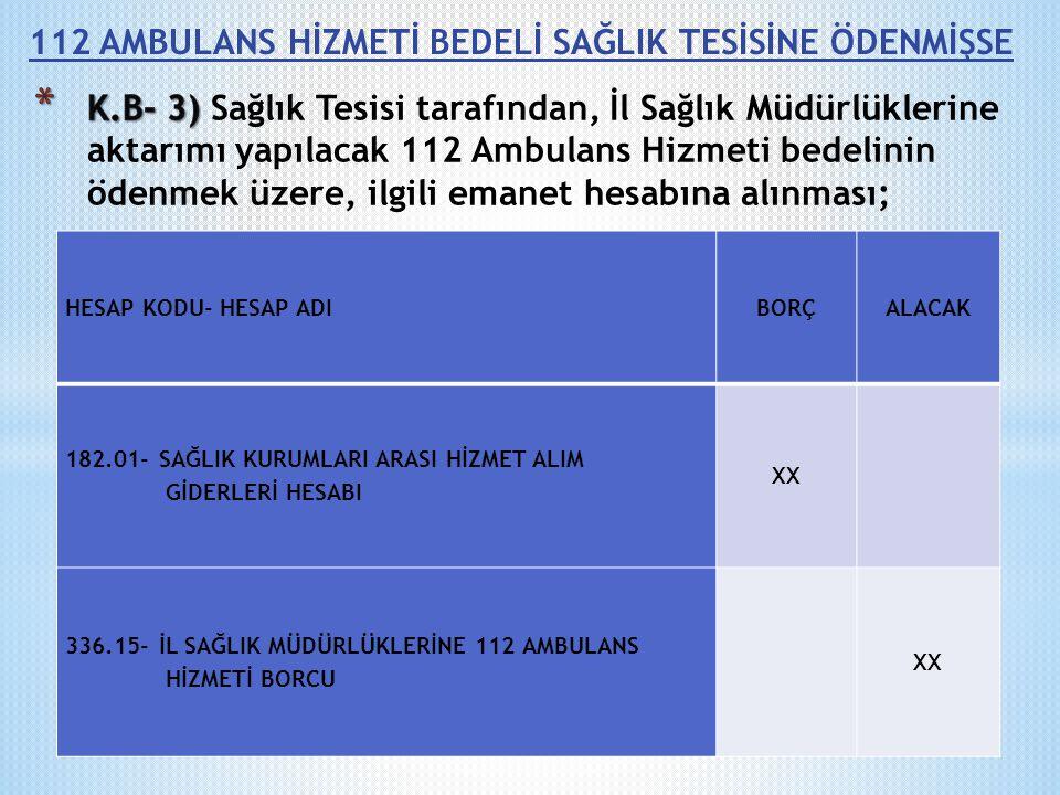 112 AMBULANS HİZMETİ BEDELİ SAĞLIK TESİSİNE ÖDENMİŞSE