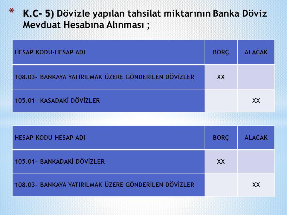 K.C- 5) Dövizle yapılan tahsilat miktarının Banka Döviz Mevduat Hesabına Alınması ;
