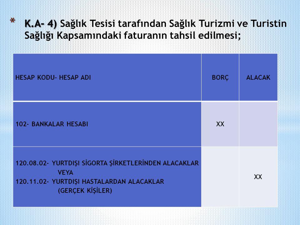 K.A- 4) Sağlık Tesisi tarafından Sağlık Turizmi ve Turistin Sağlığı Kapsamındaki faturanın tahsil edilmesi;