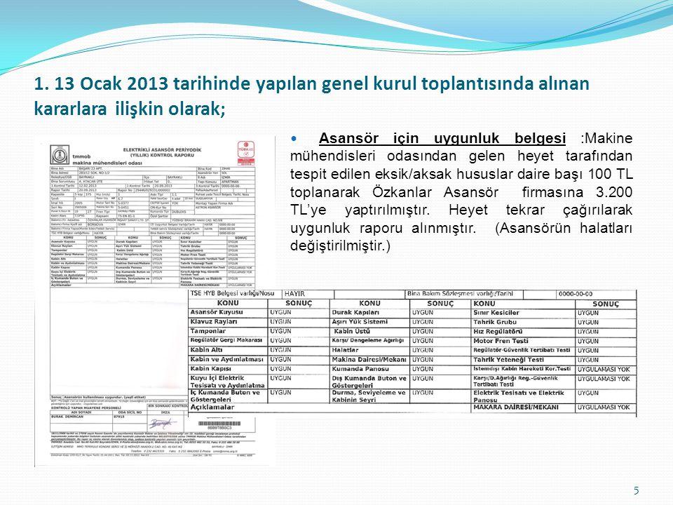 1. 13 Ocak 2013 tarihinde yapılan genel kurul toplantısında alınan kararlara ilişkin olarak;