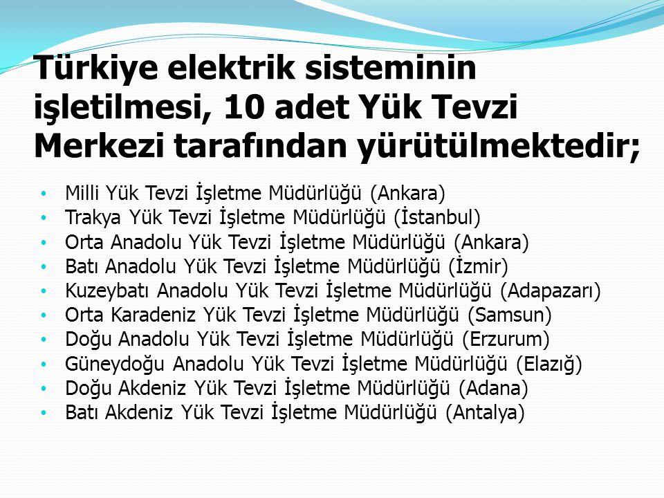 Türkiye elektrik sisteminin işletilmesi, 10 adet Yük Tevzi Merkezi tarafından yürütülmektedir;