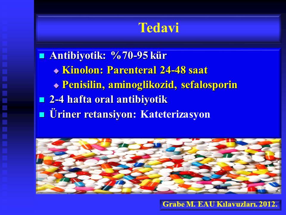 Tedavi Antibiyotik: %70-95 kür Kinolon: Parenteral 24-48 saat