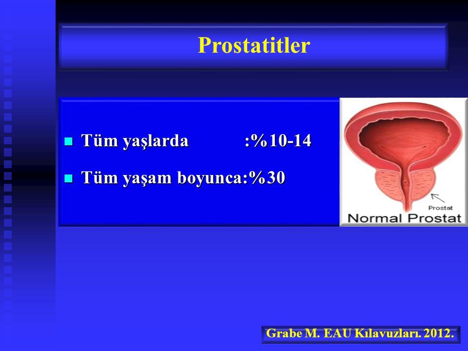 Prostatitler Tüm yaşlarda :%10-14 Tüm yaşam boyunca:%30