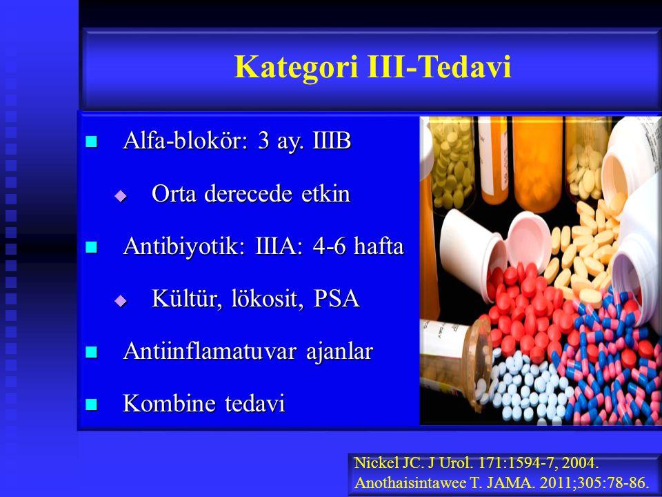 Kategori III-Tedavi Alfa-blokör: 3 ay. IIIB Orta derecede etkin