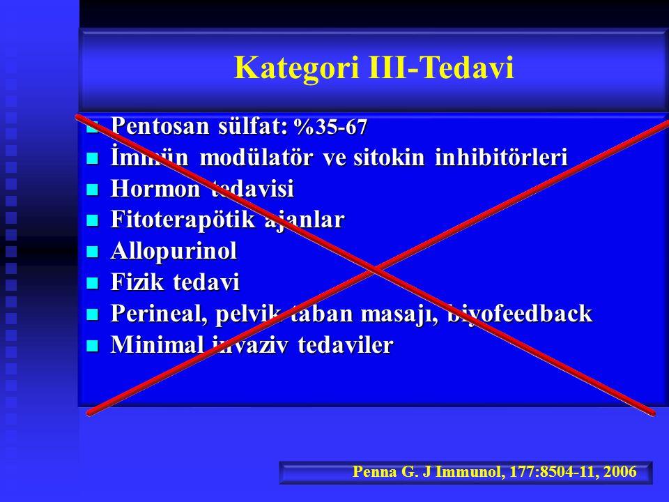 Kategori III-Tedavi Pentosan sülfat: %35-67