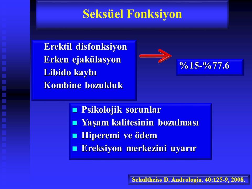 Seksüel Fonksiyon Erektil disfonksiyon Erken ejakülasyon Libido kaybı
