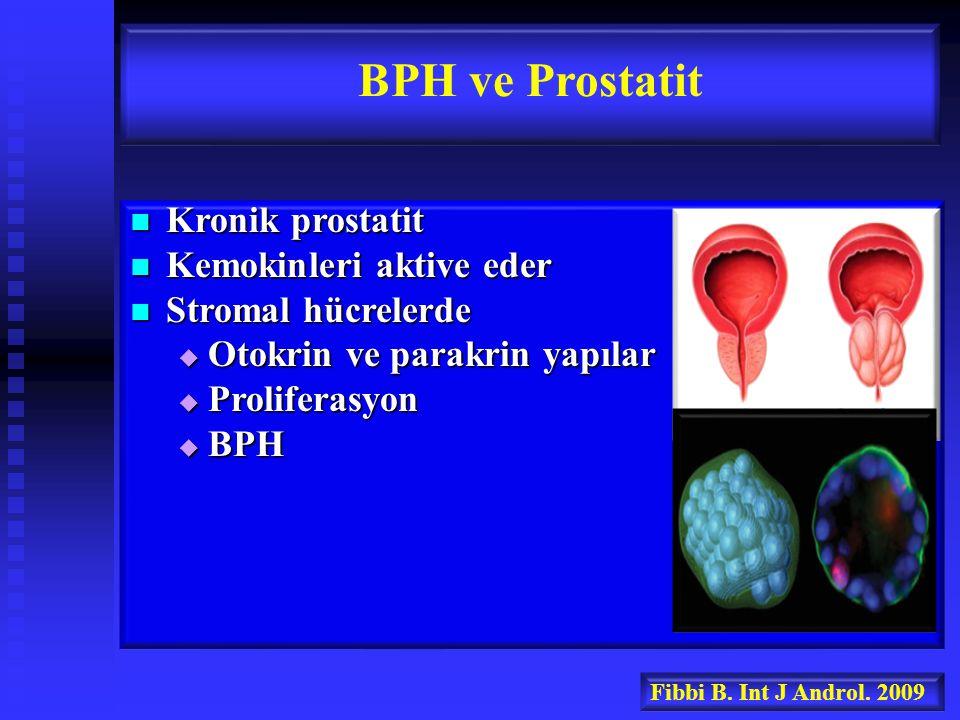 BPH ve Prostatit Kronik prostatit Kemokinleri aktive eder