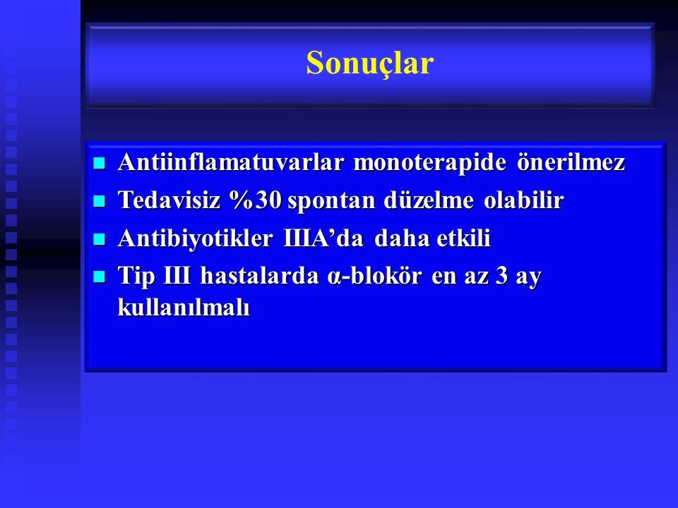 Sonuçlar Antiinflamatuvarlar monoterapide önerilmez