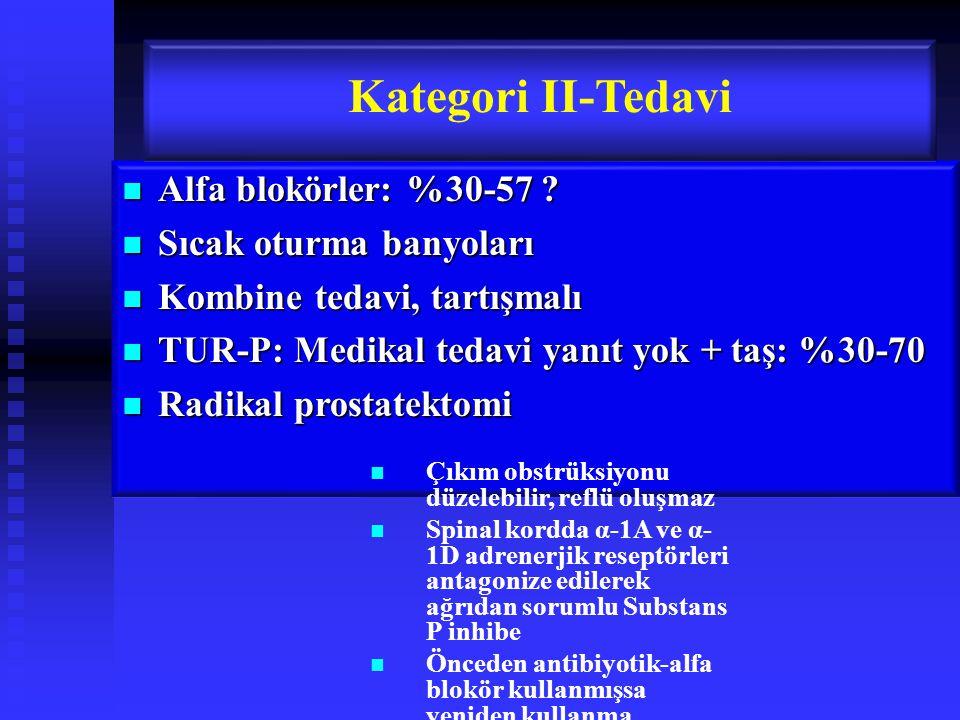 Kategori II-Tedavi Alfa blokörler: %30-57 Sıcak oturma banyoları