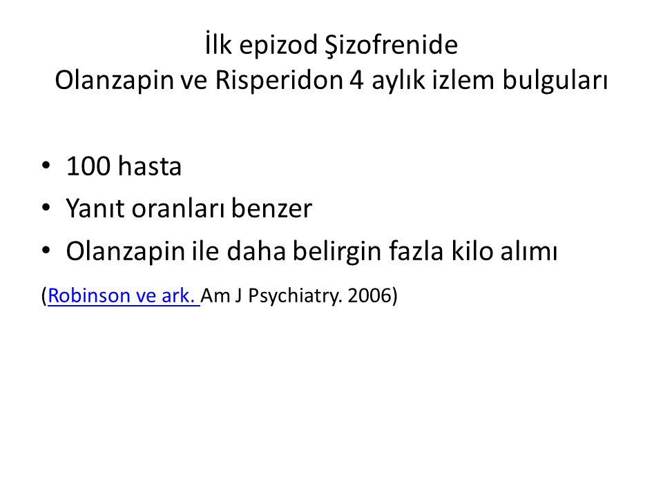 İlk epizod Şizofrenide Olanzapin ve Risperidon 4 aylık izlem bulguları
