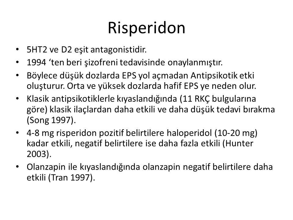Risperidon 5HT2 ve D2 eşit antagonistidir.