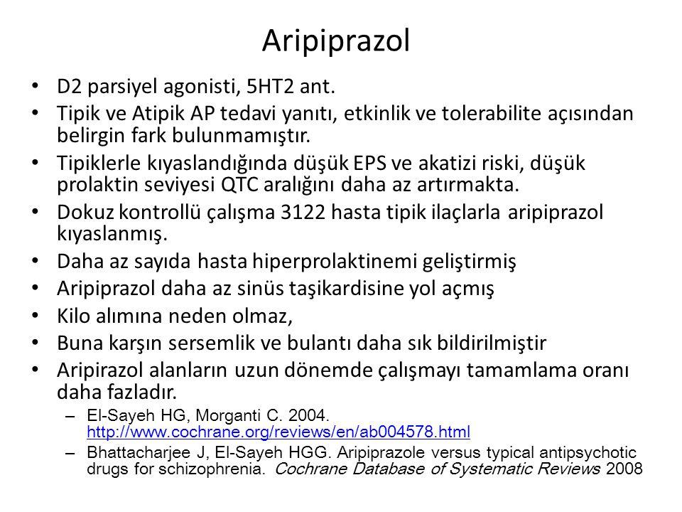 Aripiprazol D2 parsiyel agonisti, 5HT2 ant.
