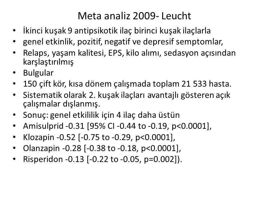 Meta analiz 2009- Leucht İkinci kuşak 9 antipsikotik ilaç birinci kuşak ilaçlarla. genel etkinlik, pozitif, negatif ve depresif semptomlar,