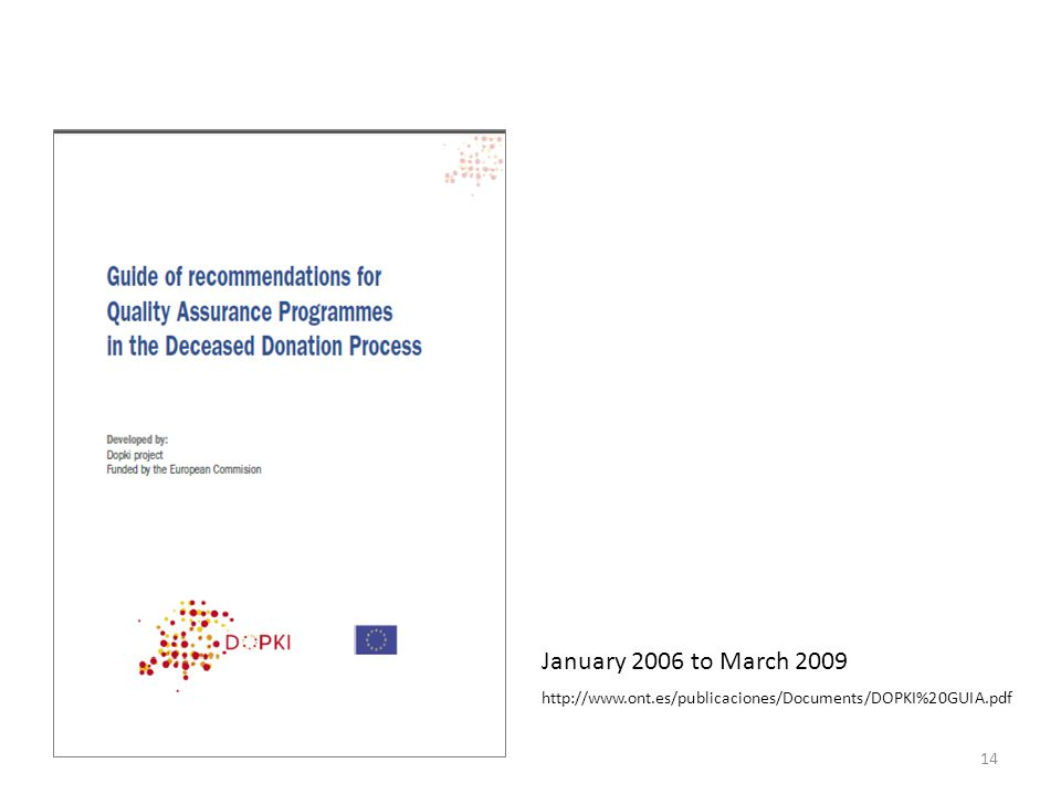 January 2006 to March 2009 http://www.ont.es/publicaciones/Documents/DOPKI%20GUIA.pdf
