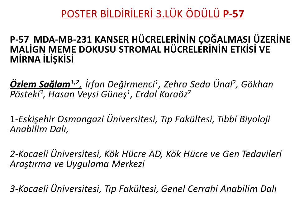 POSTER BİLDİRİLERİ 3.LÜK ÖDÜLÜ P-57
