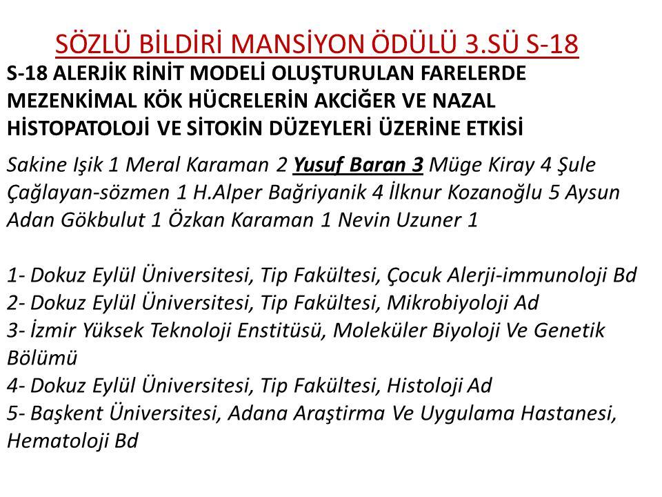 SÖZLÜ BİLDİRİ MANSİYON ÖDÜLÜ 3.SÜ S-18