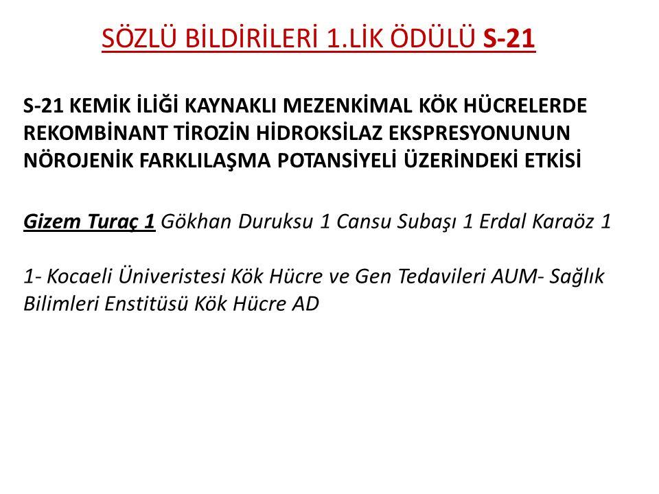SÖZLÜ BİLDİRİLERİ 1.LİK ÖDÜLÜ S-21