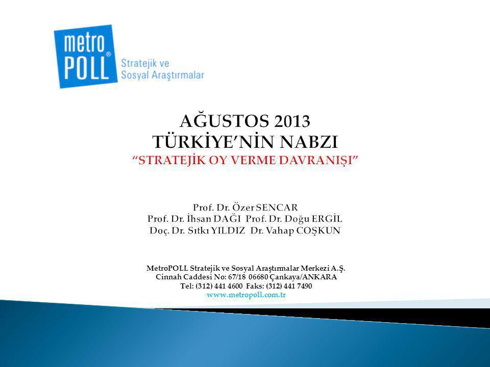 AĞUSTOS 2013 TÜRKİYE'NİN NABZI STRATEJİK OY VERME DAVRANIŞI Prof. Dr