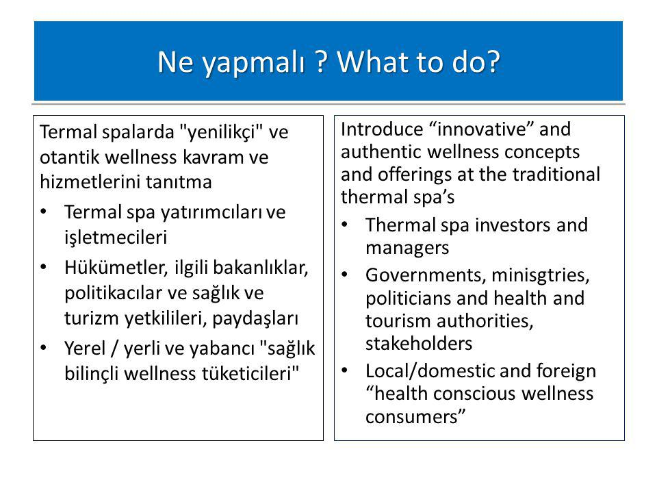 Ne yapmalı What to do Termal spalarda yenilikçi ve otantik wellness kavram ve hizmetlerini tanıtma.